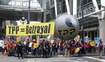 President Obama welcomed to Washington with TPP Death Star and Exploding Oil Train