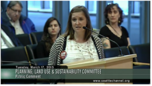 Robin Everett of the Sierra Club testifies before Seattle City Council PLUS Committee Hearing for a resolution opposing Fast Track for the TPP. March 17