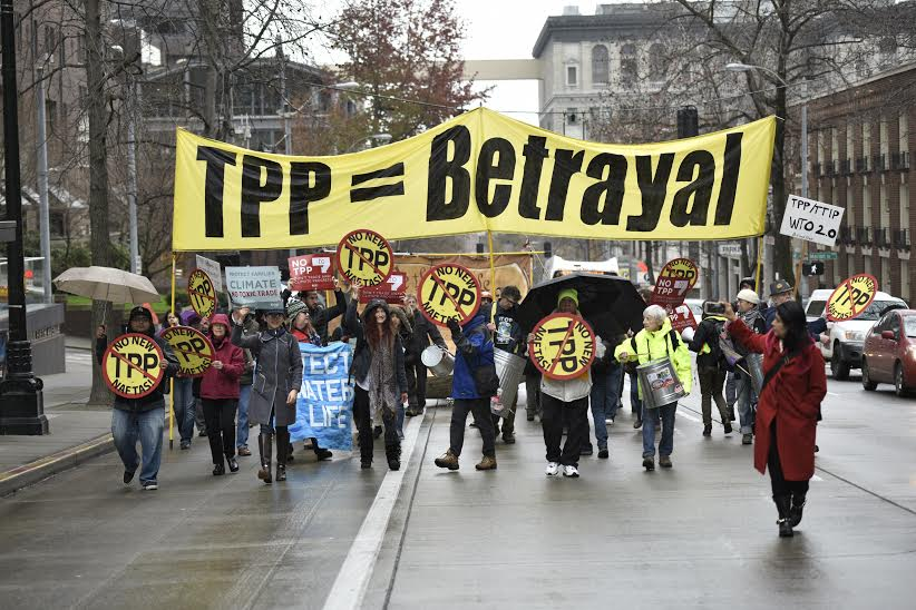 Residents from all walks of life take the streets in Seattle as the TPP is signed, raising their voices with more than 38 protests in 7 countries.